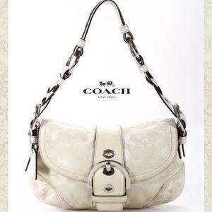 Coach Bags - COACH Wht/Beige Monogram Canvas Shoulder-bag Purse